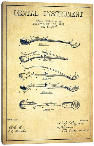 Dental Instrument Vintage Patent Blueprint Canvas Art Print