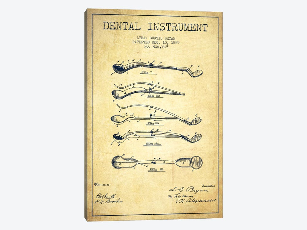 Dental Instrument Vintage Patent Blueprint by Aged Pixel 1-piece Canvas Art