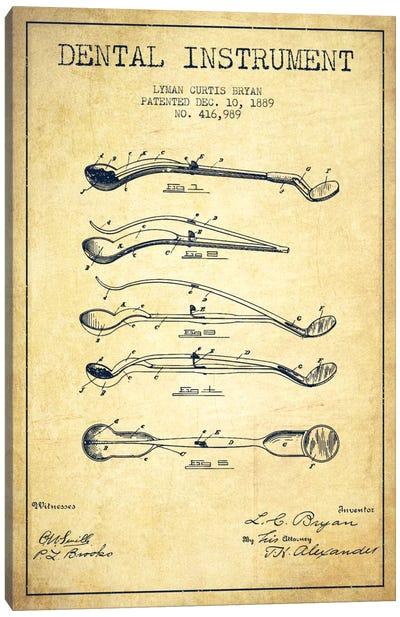 Dental Instrument Vintage Patent Blueprint Canvas Art Print