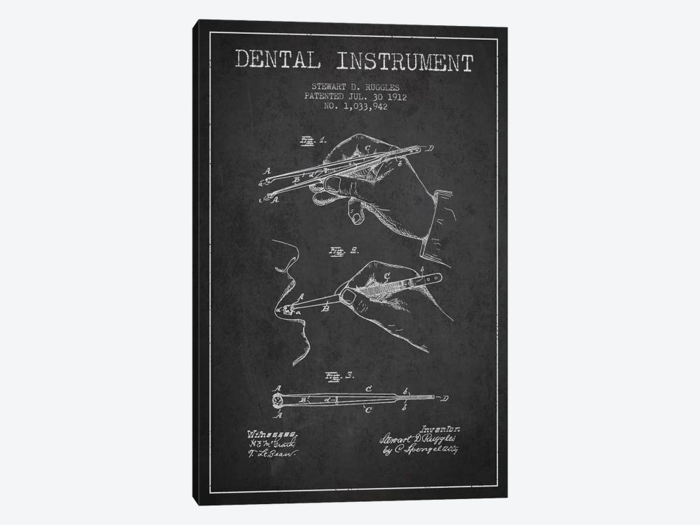 Dental Instrument Charcoal Patent Blueprint by Aged Pixel 1-piece Art Print