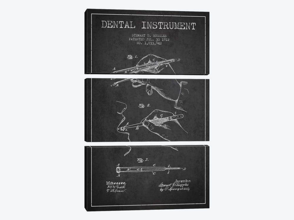 Dental Instrument Charcoal Patent Blueprint by Aged Pixel 3-piece Canvas Print