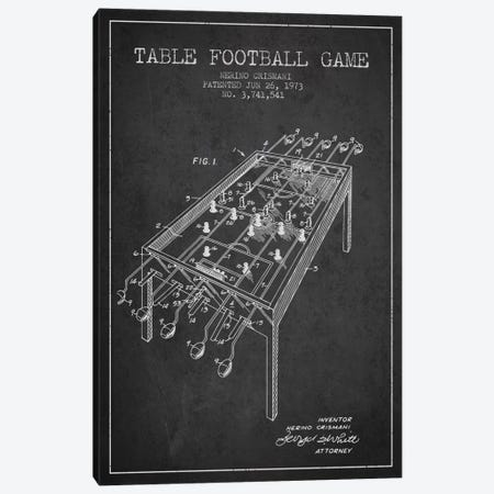 Table Football 2 Charcoal Patent Blueprint Canvas Print #ADP171} by Aged Pixel Canvas Art Print