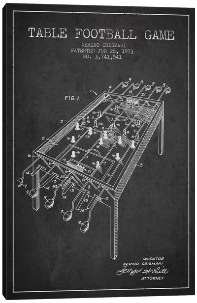 Table Football 2 Charcoal Patent Blueprint Canvas Art Print