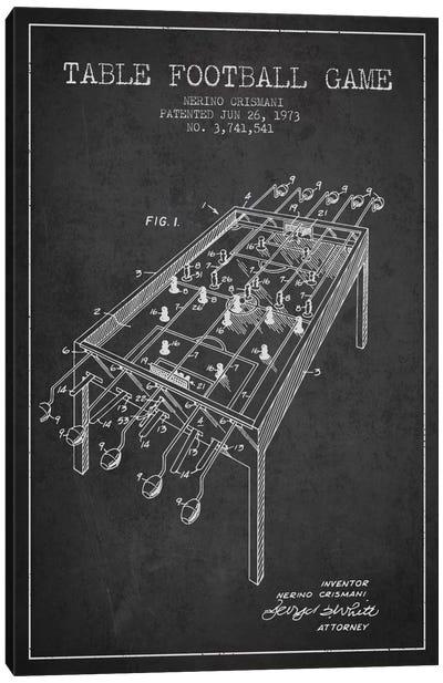 Table Football 2 Charcoal Patent Blueprint Canvas Art Print