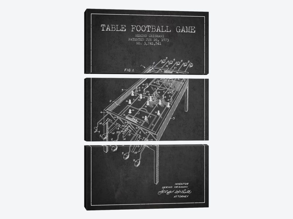 Table Football 2 Charcoal Patent Blueprint by Aged Pixel 3-piece Canvas Art