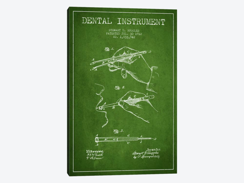 Dental Instrument Green Patent Blueprint by Aged Pixel 1-piece Canvas Print