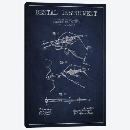 Dental Instrument Navy Blue Patent Blueprint Canvas Print #ADP1721} by Aged Pixel Art Print