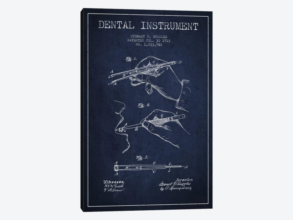 Dental Instrument Navy Blue Patent Blueprint by Aged Pixel 1-piece Canvas Artwork
