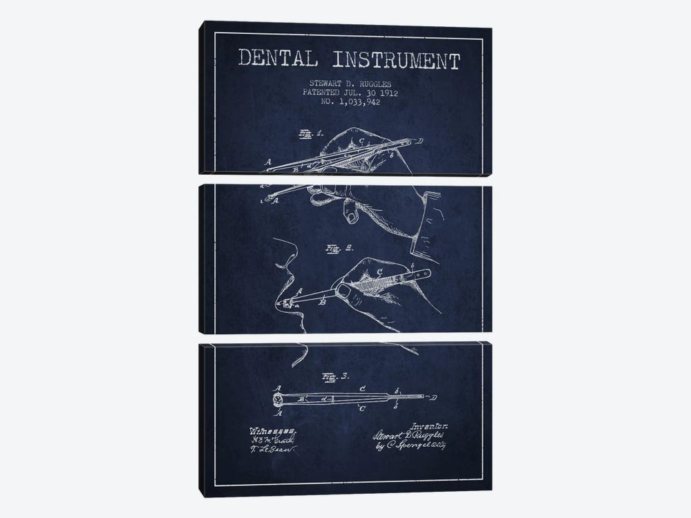 Dental Instrument Navy Blue Patent Blueprint by Aged Pixel 3-piece Canvas Wall Art