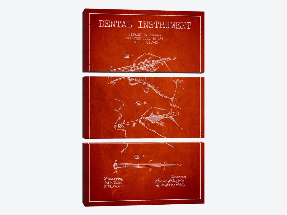 Dental Instrument Red Patent Blueprint by Aged Pixel 3-piece Canvas Print
