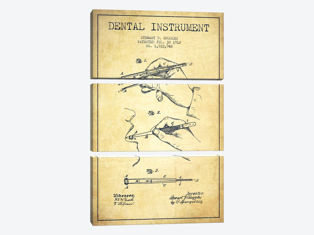 Dental Instrument Vintage Patent Blueprint by Aged Pixel 3-piece Canvas Wall Art