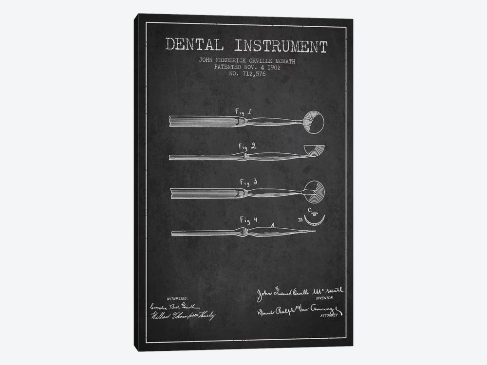 Dental Instrument Charcoal Patent Blueprint 1-piece Art Print