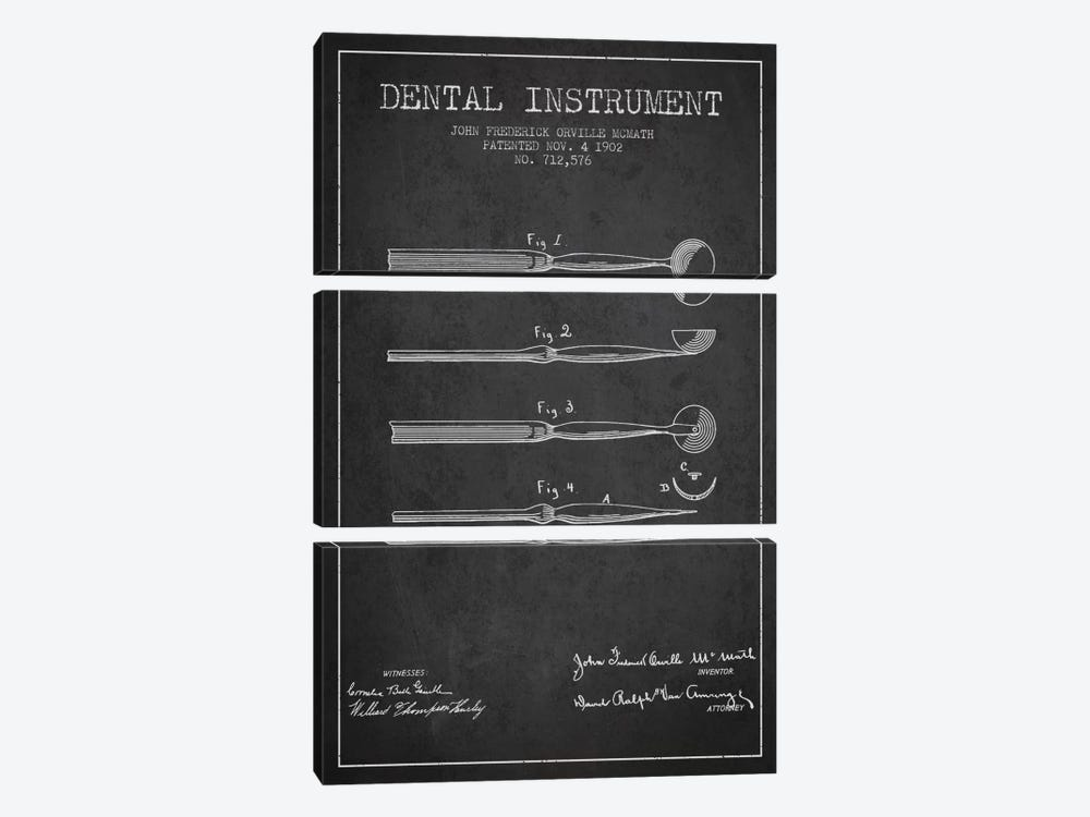 Dental Instrument Charcoal Patent Blueprint by Aged Pixel 3-piece Art Print