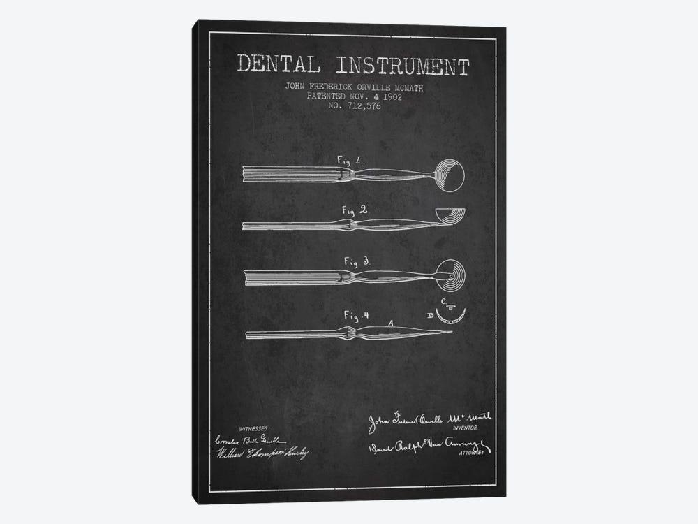 Dental Instrument Charcoal Patent Blueprint by Aged Pixel 1-piece Art Print