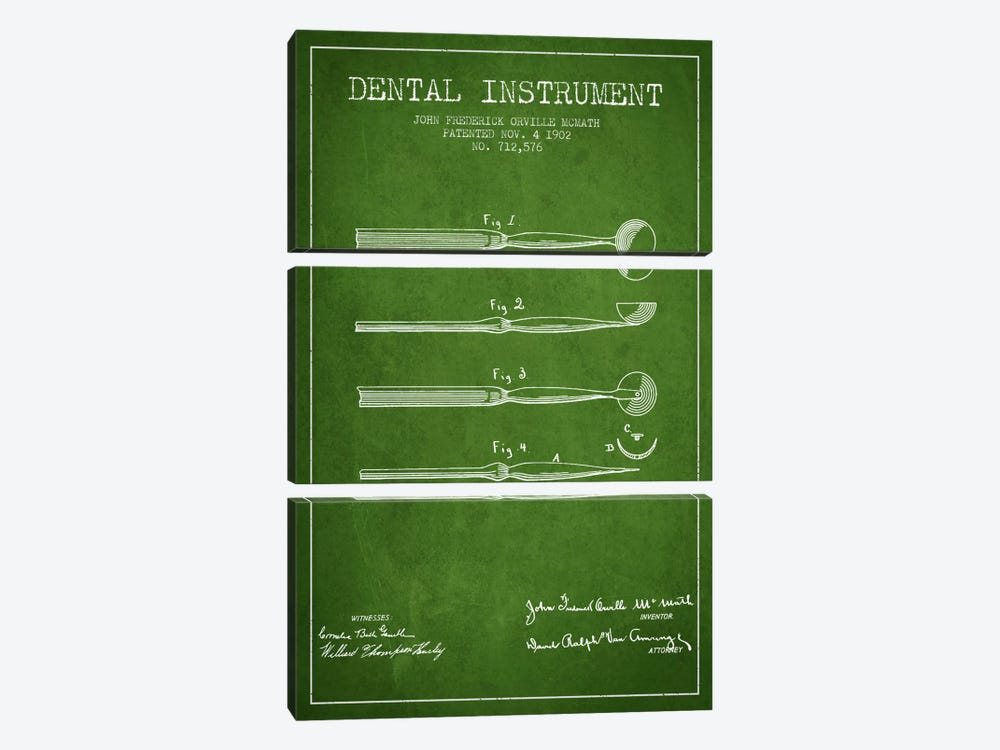 Dental Instrument Green Patent Blueprint by Aged Pixel 3-piece Canvas Art