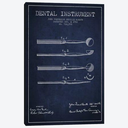Dental Instrument Navy Blue Patent Blueprint Canvas Print #ADP1726} by Aged Pixel Canvas Artwork
