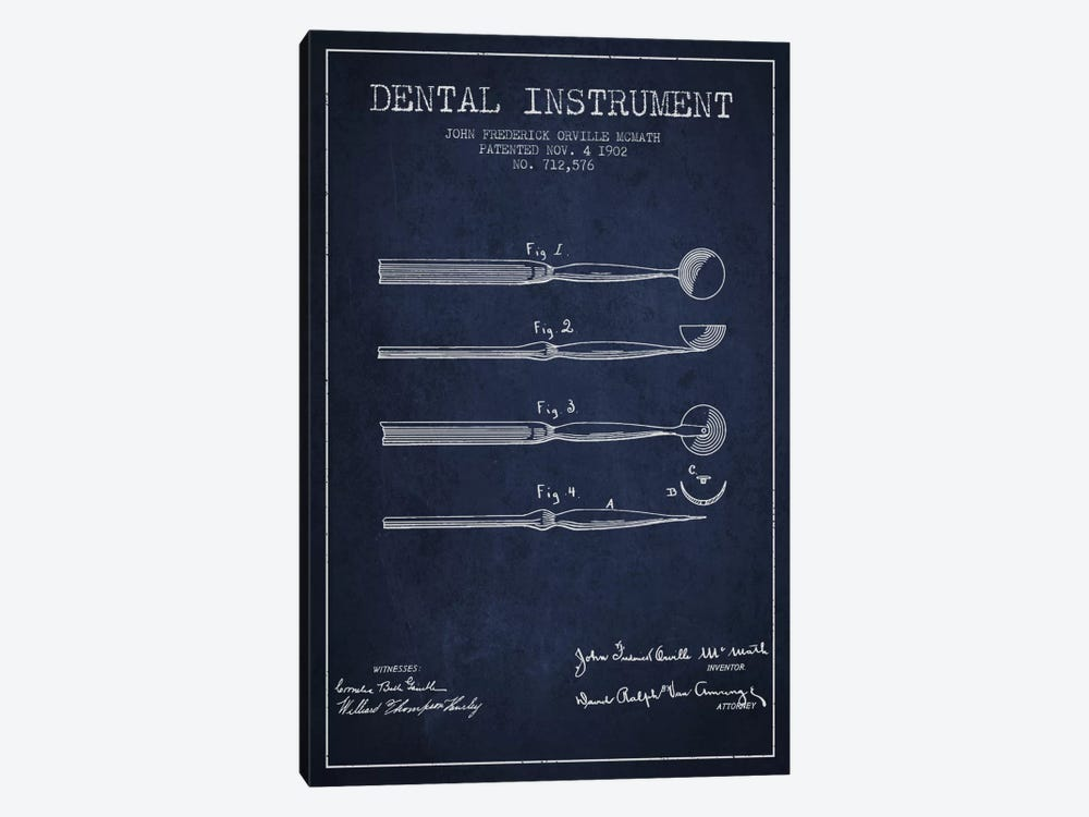 Dental Instrument Navy Blue Patent Blueprint by Aged Pixel 1-piece Art Print