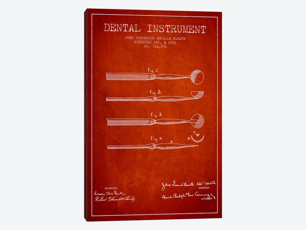 Dental Instrument Red Patent Blueprint by Aged Pixel 1-piece Canvas Wall Art