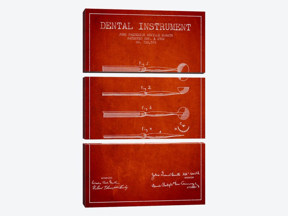 Dental Instrument Red Patent Blueprint by Aged Pixel 3-piece Canvas Wall Art