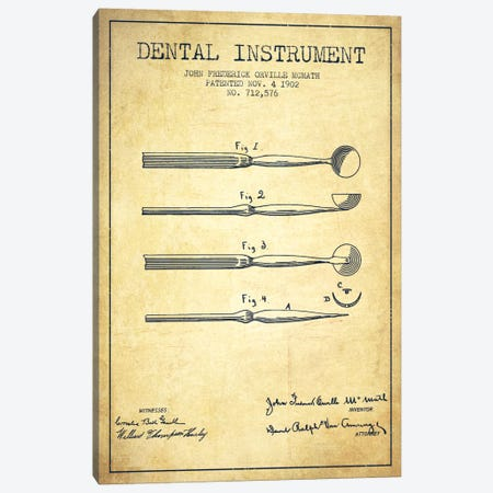 Dental Instrument Vintage Patent Blueprint Canvas Print #ADP1728} by Aged Pixel Art Print