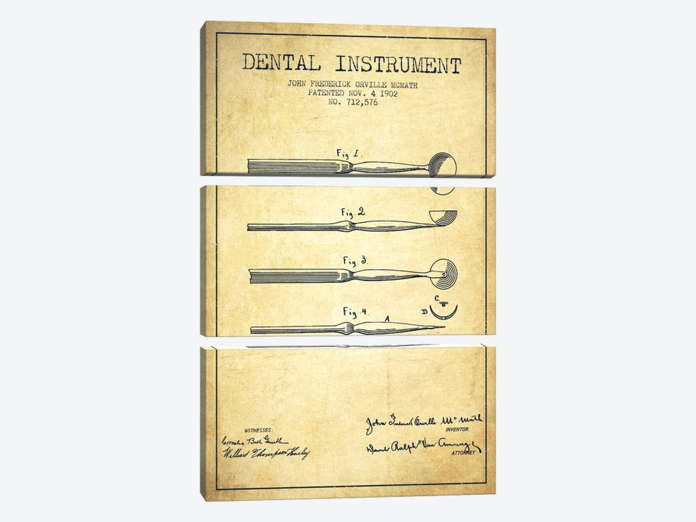 Dental Instrument Vintage Patent Blueprint by Aged Pixel 3-piece Canvas Art Print