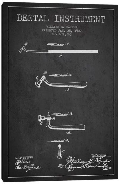 Dental Instrument Charcoal Patent Blueprint Canvas Art Print
