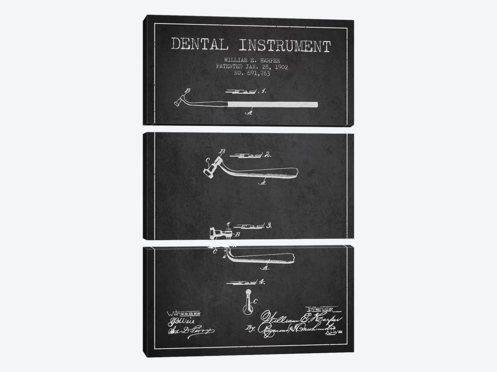 Dental Instrument Charcoal Patent Blueprint by Aged Pixel 3-piece Canvas Wall Art