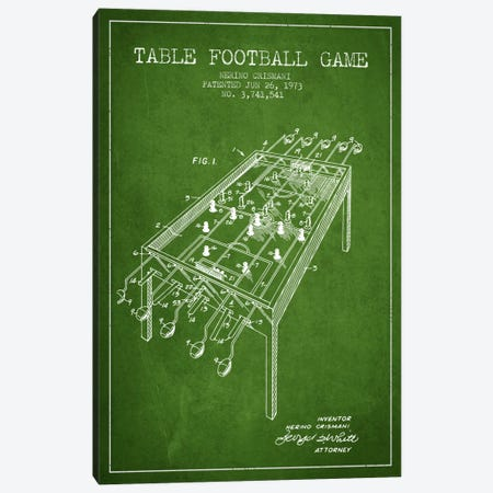 Table Football 2 Green Patent Blueprint Canvas Print #ADP172} by Aged Pixel Canvas Art Print