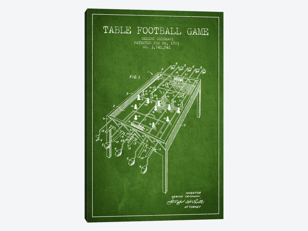 Table Football 2 Green Patent Blueprint 1-piece Art Print
