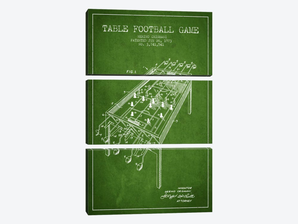 Table Football 2 Green Patent Blueprint by Aged Pixel 3-piece Canvas Print