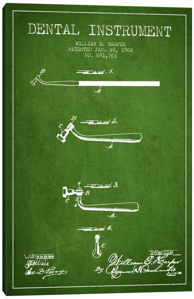 Dental Instrument Green Patent Blueprint Canvas Art Print