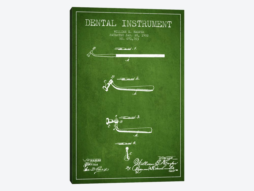 Dental Instrument Green Patent Blueprint by Aged Pixel 1-piece Canvas Art