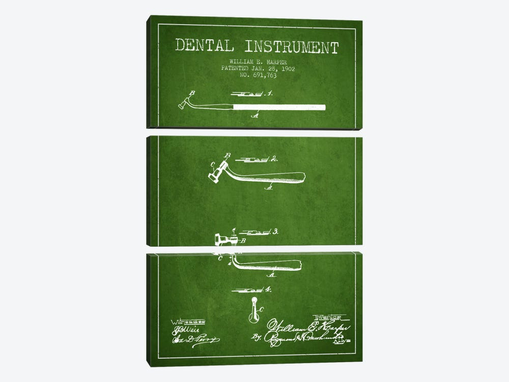 Dental Instrument Green Patent Blueprint by Aged Pixel 3-piece Canvas Artwork