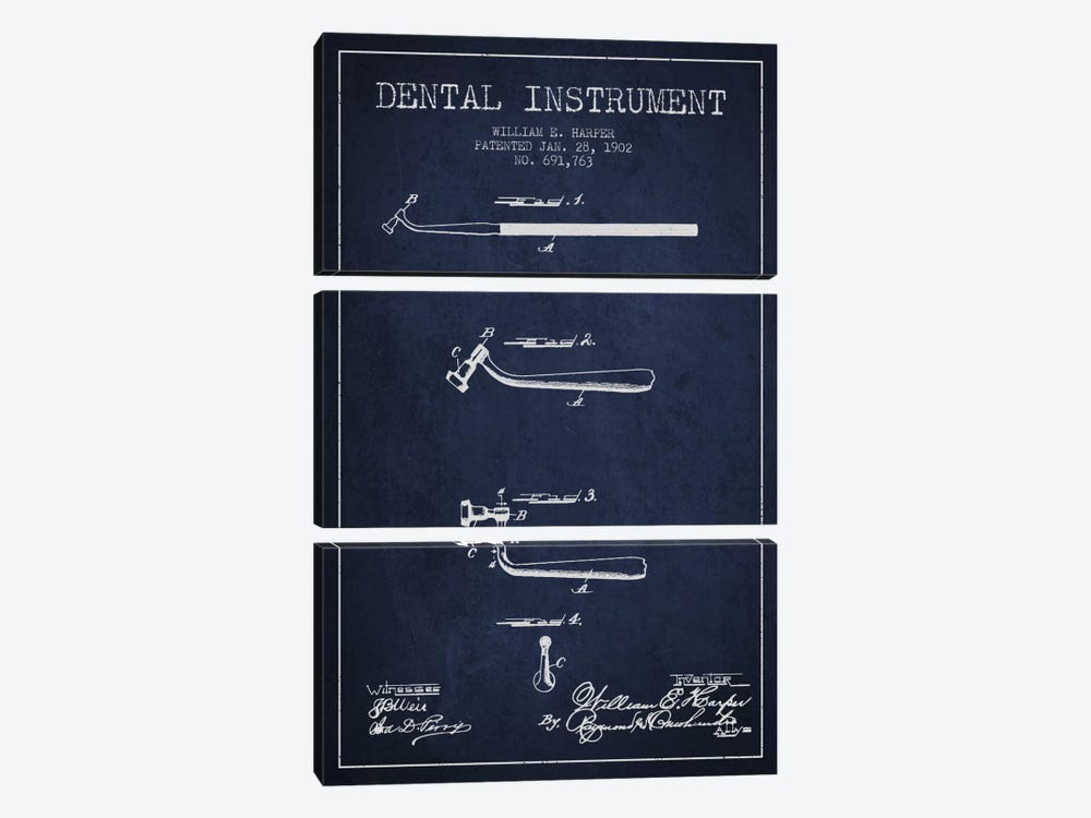 Dental Instrument Navy Blue Patent Blueprint by Aged Pixel 3-piece Canvas Print