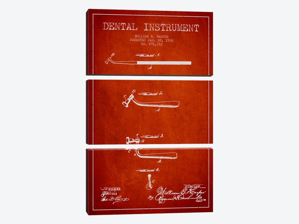 Dental Instrument Red Patent Blueprint by Aged Pixel 3-piece Canvas Art