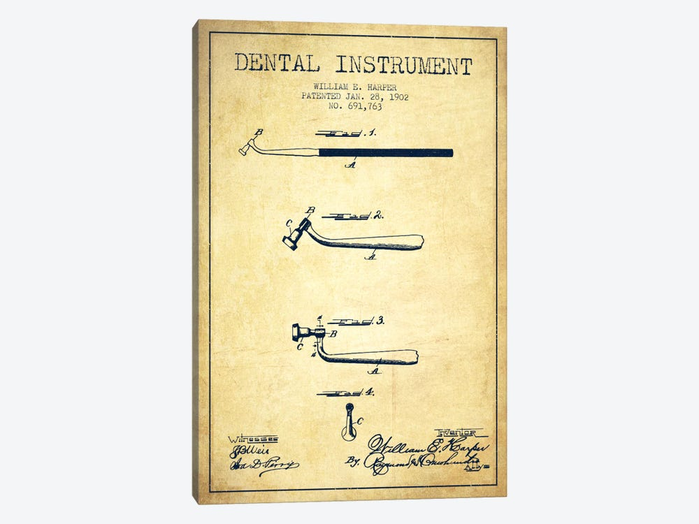 Dental Instrument Vintage Patent Blueprint by Aged Pixel 1-piece Canvas Print