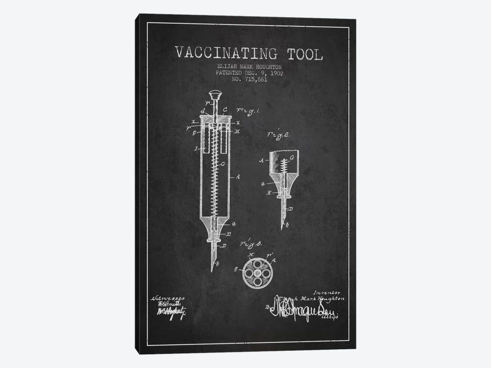 Vaccinating Tool Charcoal Patent Blueprint by Aged Pixel 1-piece Canvas Artwork