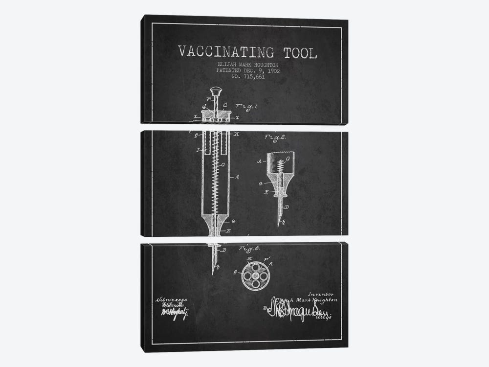 Vaccinating Tool Charcoal Patent Blueprint by Aged Pixel 3-piece Canvas Artwork