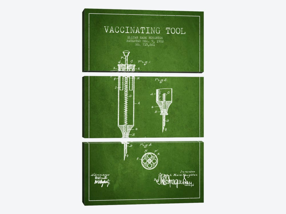 Vaccinating Tool Green Patent Blueprint by Aged Pixel 3-piece Canvas Print