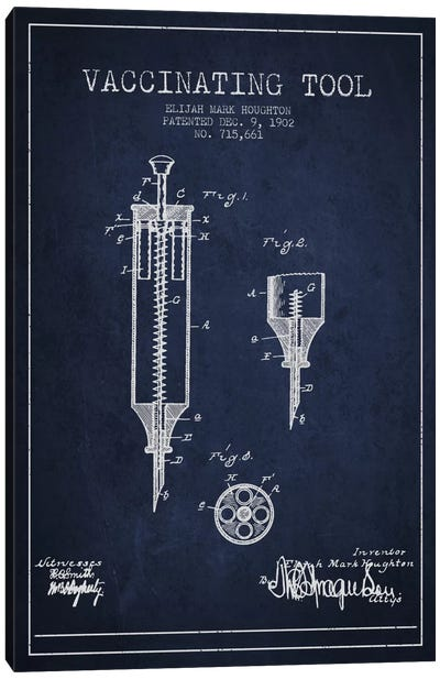 Vaccinating Tool Navy Blue Patent Blueprint Canvas Art Print