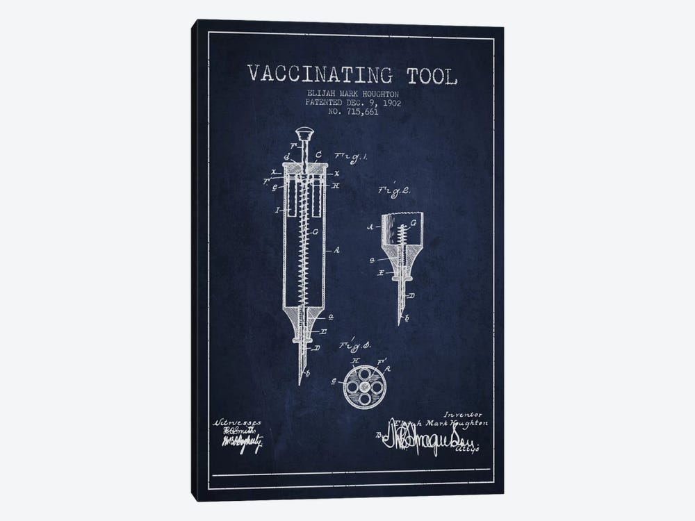 Vaccinating Tool Navy Blue Patent Blueprint by Aged Pixel 1-piece Canvas Wall Art