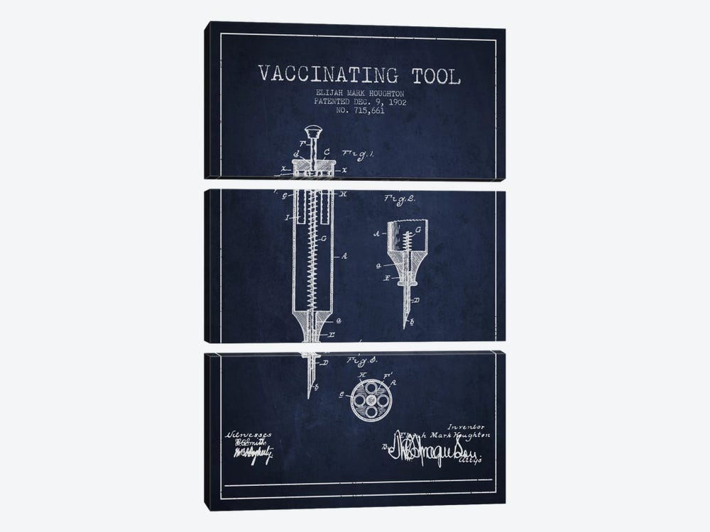 Vaccinating Tool Navy Blue Patent Blueprint by Aged Pixel 3-piece Canvas Art
