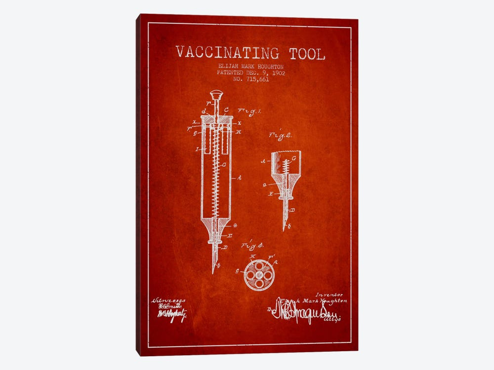 Vaccinating Tool Red Patent Blueprint by Aged Pixel 1-piece Canvas Print