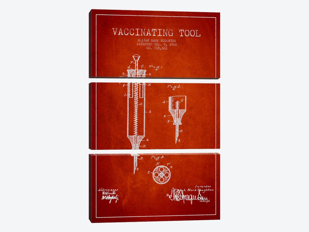 Vaccinating Tool Red Patent Blueprint by Aged Pixel 3-piece Canvas Art Print