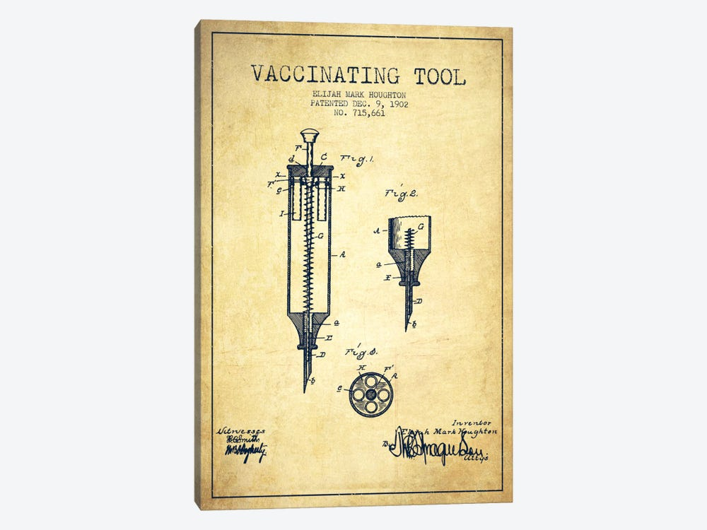 Vaccinating Tool Vintage Patent Blueprint 1-piece Canvas Art