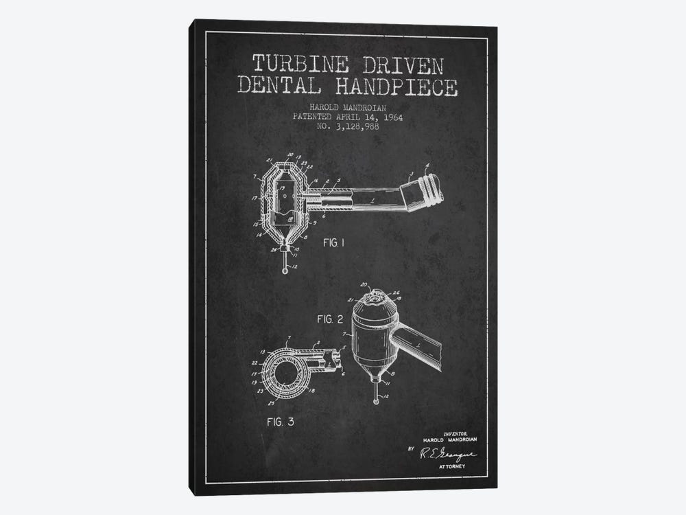 Turbine Drive Charcoal Patent Blueprint 1-piece Canvas Art Print
