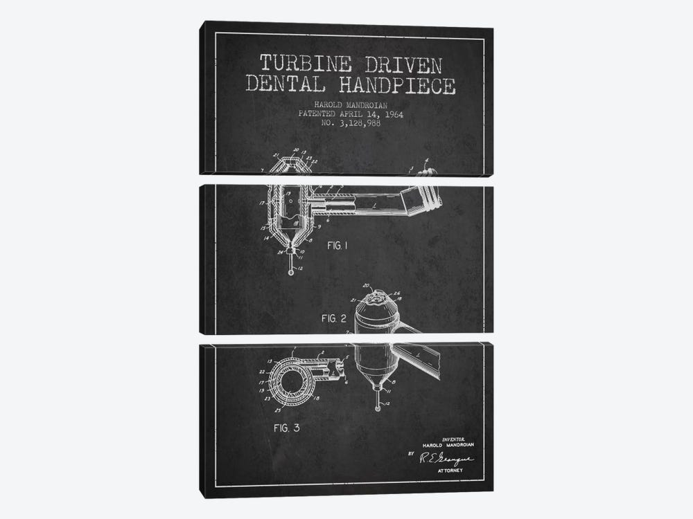 Turbine Drive Charcoal Patent Blueprint by Aged Pixel 3-piece Canvas Print