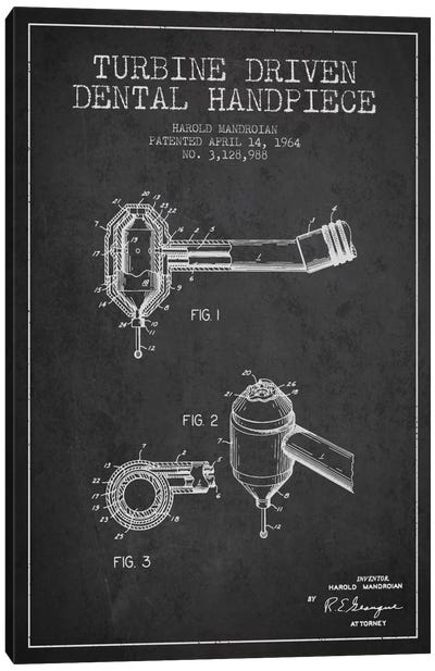 Turbine Drive Charcoal Patent Blueprint Canvas Art Print