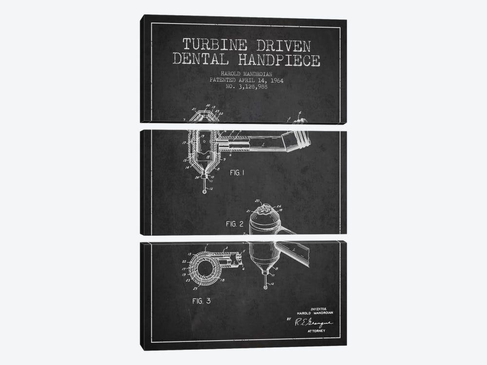 Turbine Drive Charcoal Patent Blueprint by Aged Pixel 3-piece Canvas Print