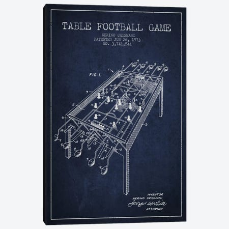 Table Football 2 Navy Blue Patent Blueprint Canvas Print #ADP173} by Aged Pixel Canvas Print